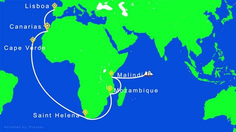 Route Vasco Da Gama by Vasco Da Gama Voyage To India Route Hd