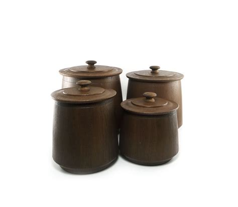 brown canister sets kitchen vintage faux wood canister set chocolate brown