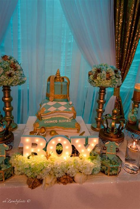 Decorating Ideas For Baby Shower by Golden Glamorous Prince Baby Shower Baby Shower Ideas