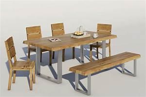 Esstisch Massivholz Günstig : massivholz esstisch mit chromgestell baumkantentisch von ~ Watch28wear.com Haus und Dekorationen