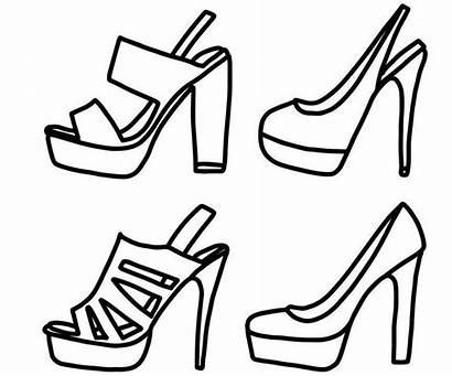 Coloring Heel Pages Shoes Heels Printable Colouring