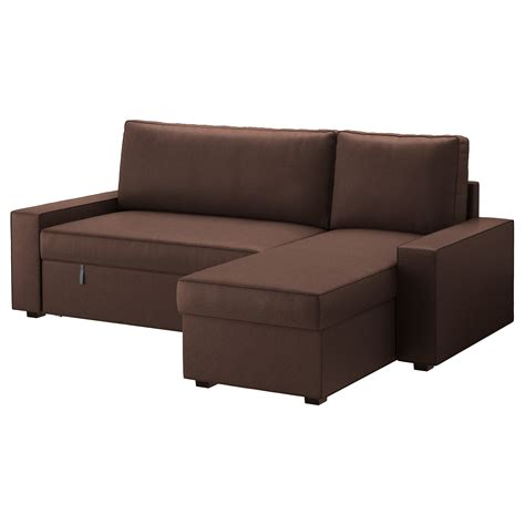 chaise volutive ikea vilasund sofa bed with chaise longue borred brown ikea