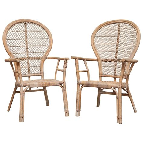 pair of rattan fan back peacock chairs for sale at 1stdibs