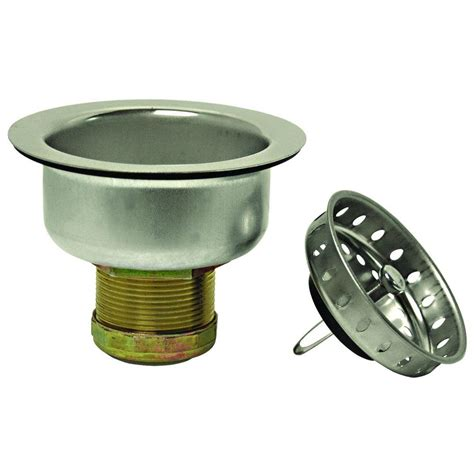 commercial kitchen sink strainer brasscraft 3 1 2 in post style basket strainer with nut