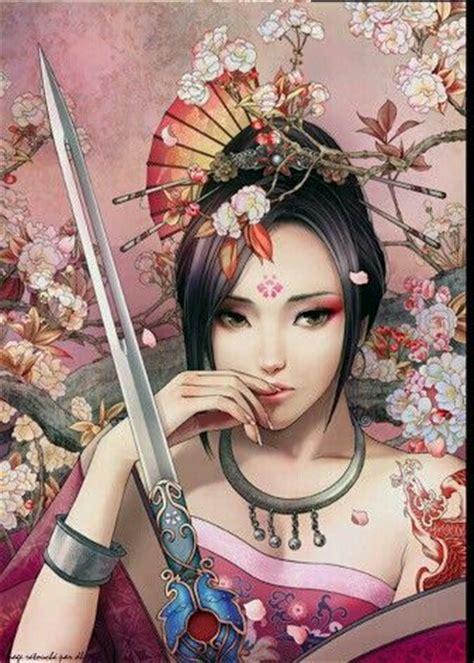 samurai princess anime illustrazioni disegni pittura