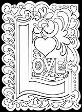 Coloring True Adult Printable Adults Valentine Colouring Detailed Valentines Printablee Luv Colour Via Heart Words Creative sketch template