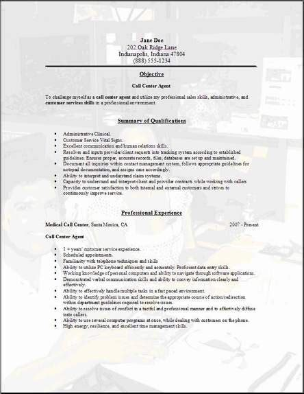 call center resume occupationalexamples samples  edit  word