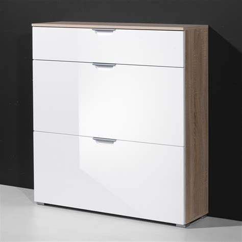 white shoe cabinet shoe cabinet in gloss white with 3 drawer 13822