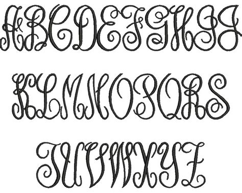 fancy script monogram font images  fancy script