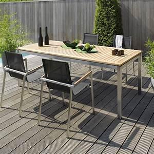 Table En Teck Jardin : table jardin teck acier photo 19 20 table de jardin en ~ Melissatoandfro.com Idées de Décoration