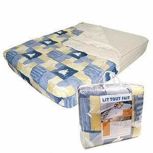 Lit De Camping : destockage lit tout fait 140x190 bleu beige camping car caravane ~ Teatrodelosmanantiales.com Idées de Décoration
