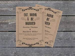 kraft paper wedding invitation template eat drink be With 5 by 7 wedding invitation template