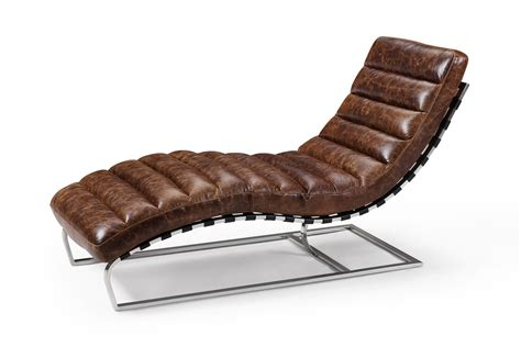 the leather chaise lounge and