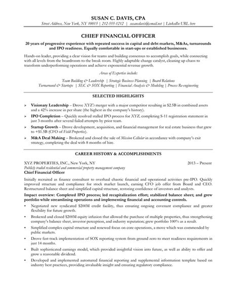 chief financial officer resume sles exles
