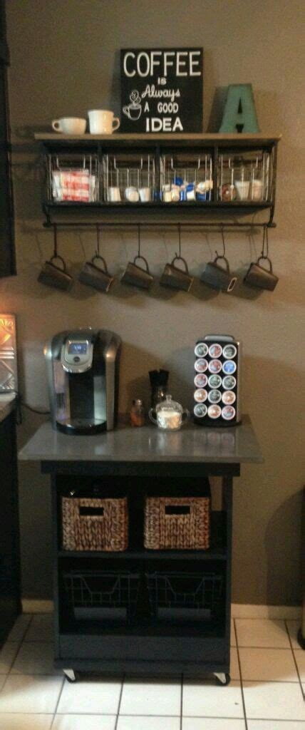 The most common coffee bar ideas material is porcelain & ceramic. Rustic coffee station #Coffee (Coffee bar ideas) Tags: Rustic coffee station ideas, Rustic ...