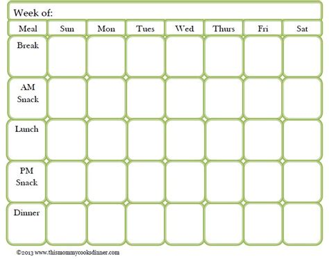 Meal Planner Template The 25 Best Meal Planning Templates Ideas On