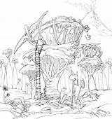 Coloring Tree Pages Magic Fairy Treehouse Printable Sheets Houses Sheet Concept Finished Lineart Dreamworks Templates Getcolorings Template sketch template