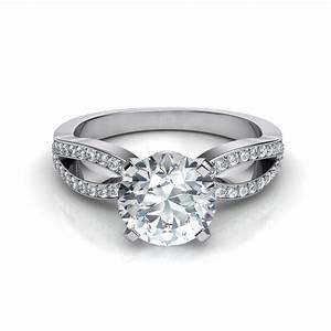 split shank pave diamond engagement ring With split shank wedding ring