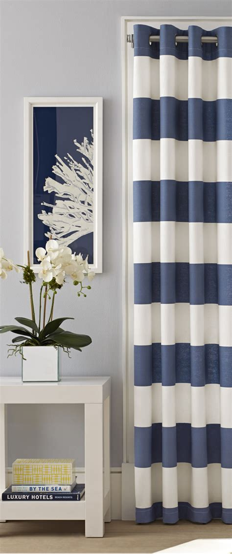 navy and white striped curtains canada coastal decorating ideas