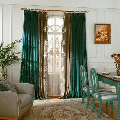 tall  long vintage emerald green curtains