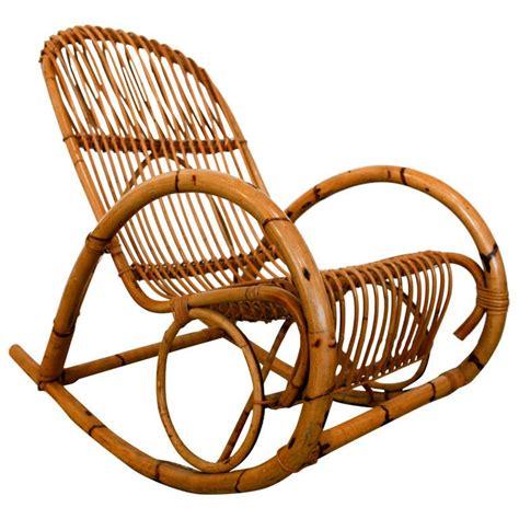 Vintage mid century wicker rattan braided arm chair. Mid Century Italian Rattan Rocking Chair by Franco Albini ...