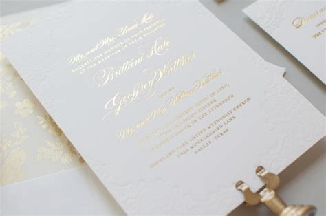 Gold Foil And Lace Wedding Invitations