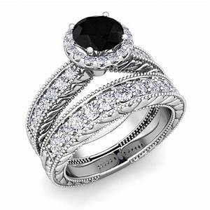 vintage bridal set 18k gold black and white diamond ring 7mm With black and white diamond wedding ring sets