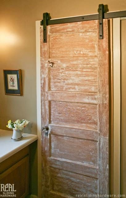 barn door hardware rustic bathroom san luis obispo  real carriage door sliding hardware
