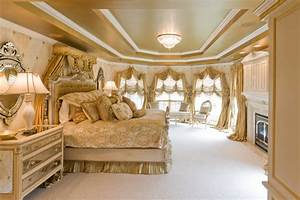 Gold Bedroom with Custom Bedding and Window Treatments
