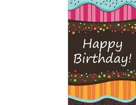 Birthday Card Template Birthday Card Dots And Stripes Half Fold