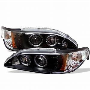 1994-1998 Ford Mustang Black Halo Projector Headlights - 444-FM94-1PC-AM-BK