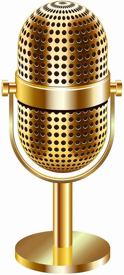 Microphone Transparent Gold Clip Background Clipart Microphones