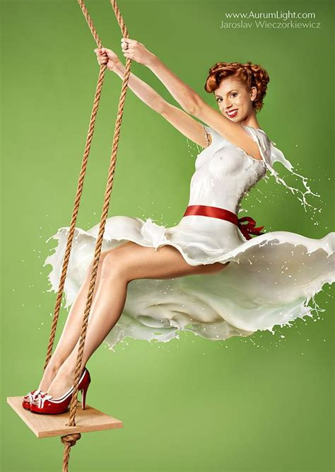 Retro Styled Pin Up Shots Of Models 'wearing Milk Randommization