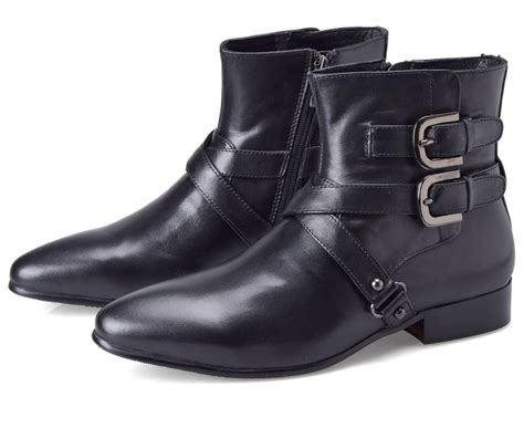 mens casual motorcycle boots aliexpress com buy double buckle pointed toe black boots
