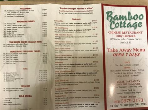 Cottage Restaurant Menu by Menu Picture Of Bamboo Cottage Restaurant Pty