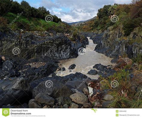 Alcantara River Gorge In Sicily Italy Stock Photography
