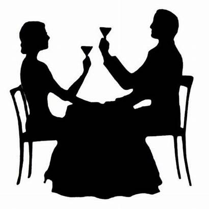 Silhouette Dining Couple Rubber Paris Eve Stamp