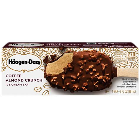 With this recipe, you will make a decadent, creamy haagen dazs coffee ice cream copy cat version that has a luxurious mouth feel and has a delicate balanced burst of sweetness and coffee flavour. HAAGEN-DAZS Ice Cream Bar Coffee & Almond Crunch 1ct - My Custom Treats