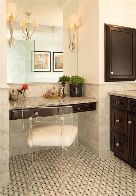 floating makeup vanity bathroom nook with espresso floating vanity and lucite