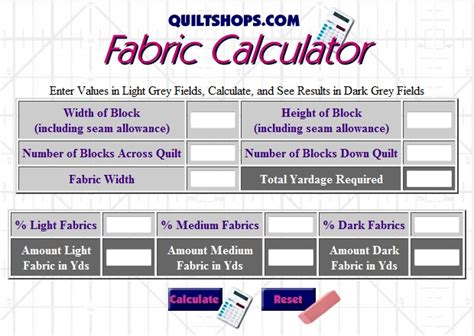 Material For Curtains Calculator by Quiltshops Fabric Yardage Calculator Quilting