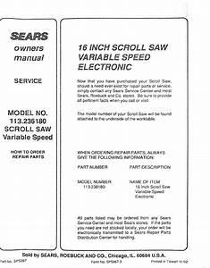 Craftsman 113236180 User Manual Scroll Saw Manuals And