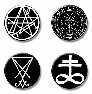 Occult demons symbols button pins size 1pack of 4