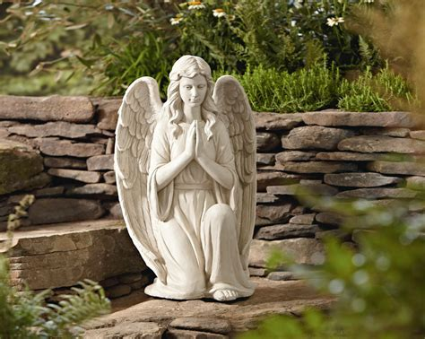 essential garden  kneeling angel statuary outdoor