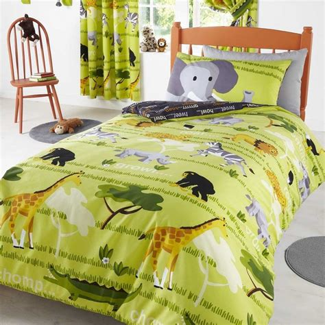 animal themed kids bed cover  curtain design photo