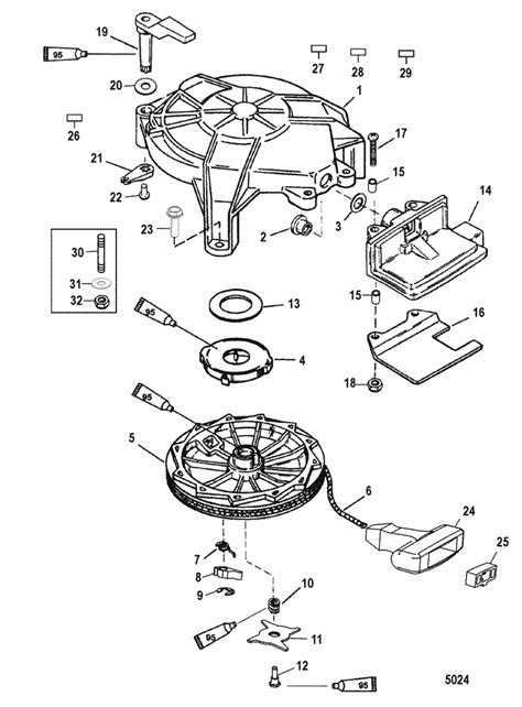 mariner  hp viking manual starter parts
