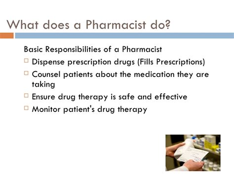 Pharmacist Responsibilities by Career Pharmacist Finial