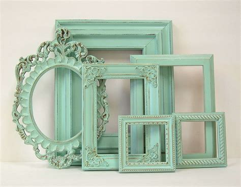 green shabby chic shabby chic frames pastel mint green picture frame set ornate