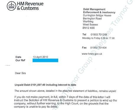 hmrc unpaid debt   day winding  threat begbies