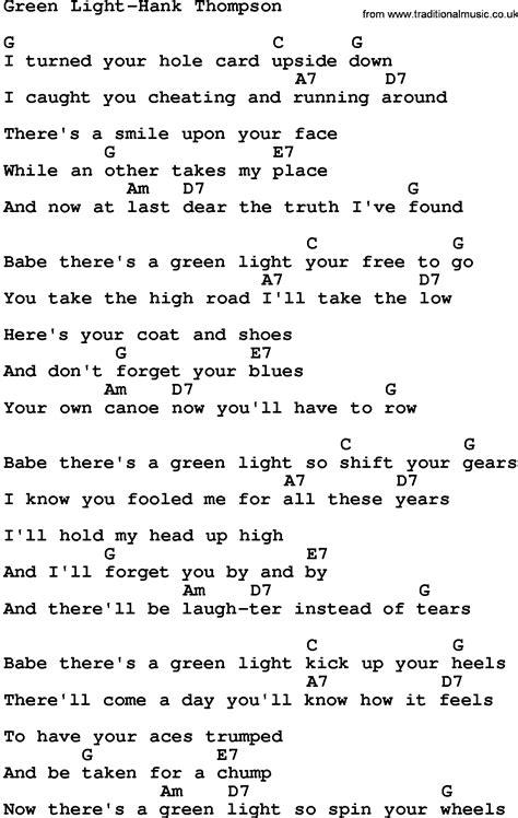 nf green lights lyrics country music green light hank thompson lyrics and chords