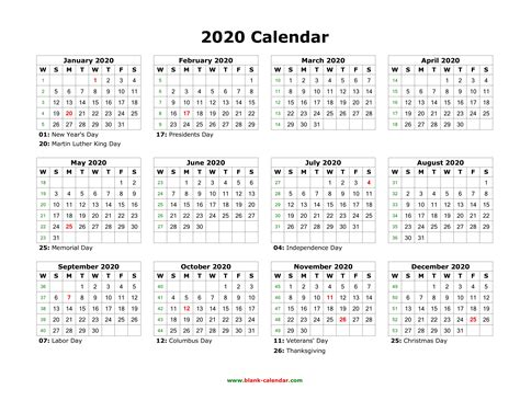 Download Blank Calendar 2020 With Us Holidays (12 Months
